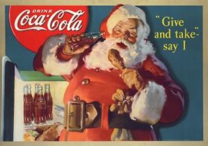 Sundblom_GiveandTake-SayI_1937_SantaStoreDisplayAdRaidingRefrigerator
