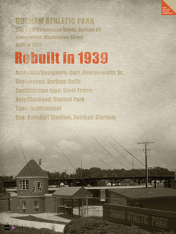 1939: Durham Athletic Park is rebuilt and reopened by Basia Coulter