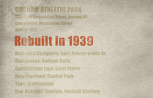 Durham Athletic Park Reconstruction Info
